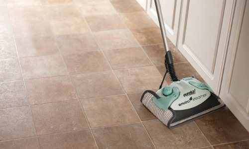 tile floors can be hard to mop as dirt can fall into the grout in